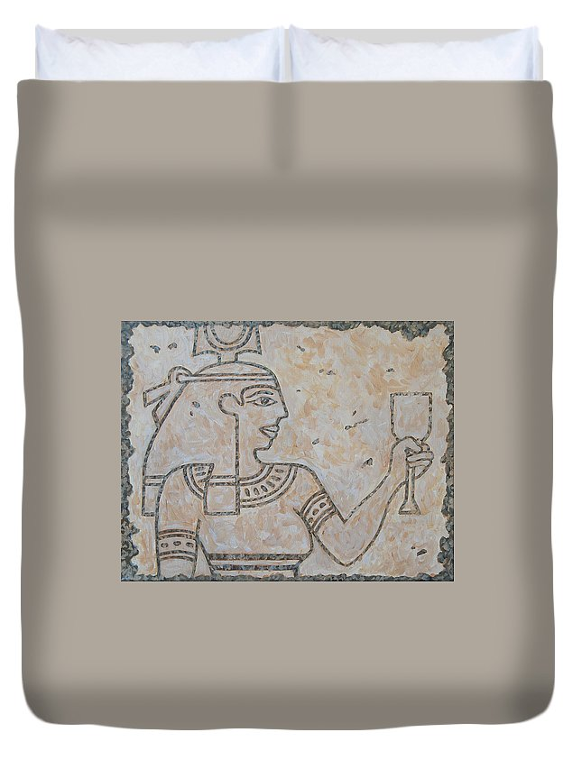 Egypt Duvet Cover featuring the painting Girl Of Egypt by Tommy Midyette