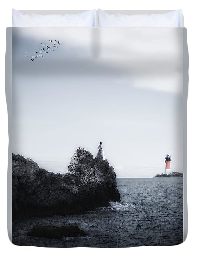 Girl Duvet Cover featuring the photograph Girl On Cliffs by Joana Kruse