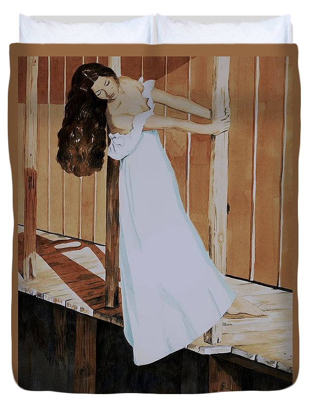 Girl On Dock Duvet Cover featuring the painting Girl On Dock by Judy Swerlick