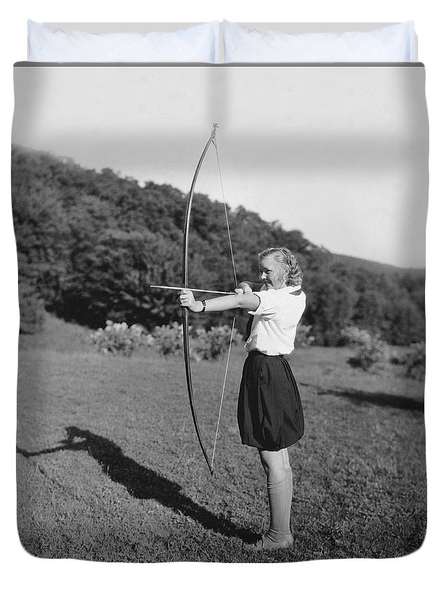1 Person Duvet Cover featuring the photograph Girl Scout With Bow And Arrow by Underwood Archives