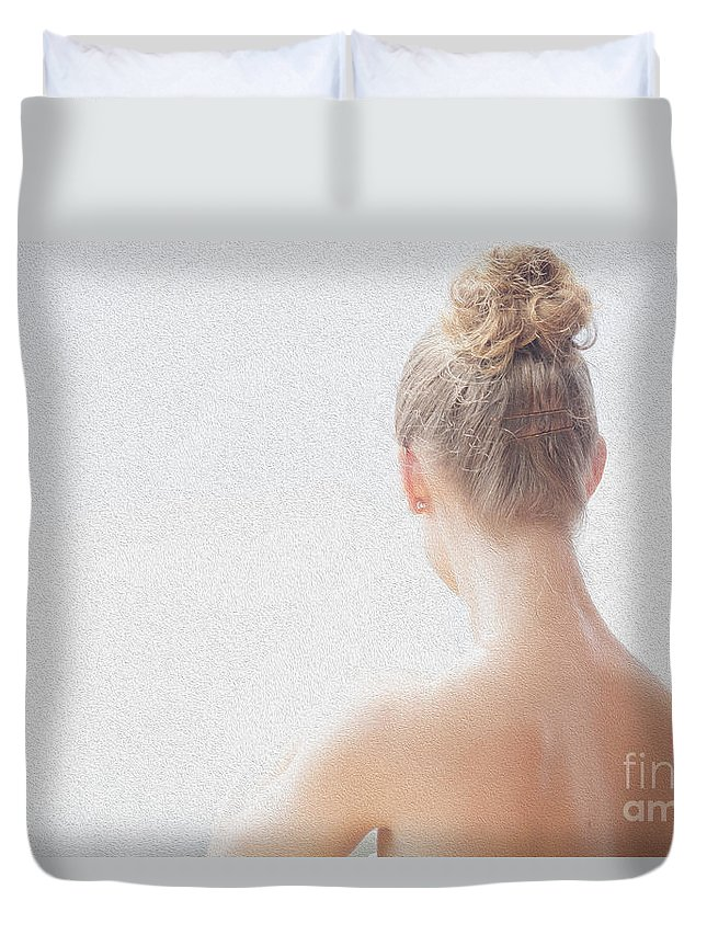 Long Necked Girl Duvet Cover featuring the photograph Girl by Sheila Smart Fine Art Photography