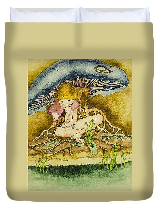 Girl Duvet Cover featuring the painting Girl Under Mushroom by Daniel P Cronin