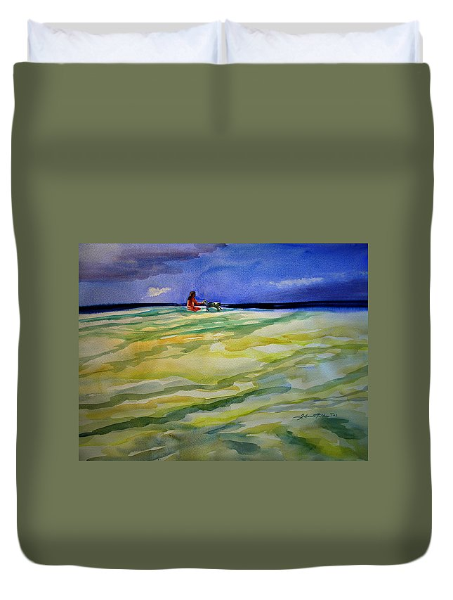 Impressionism Duvet Cover featuring the painting Girl With Dog On The Beach by Julianne Felton