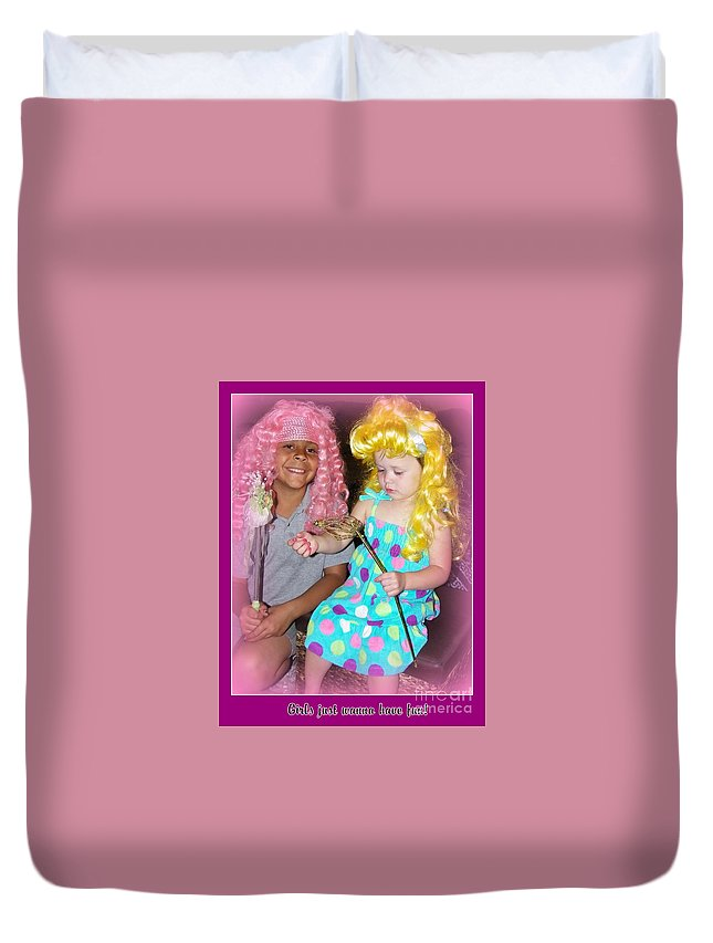 Kids Duvet Cover featuring the photograph Girls Just Wanna Have Fun by Bobbee Rickard