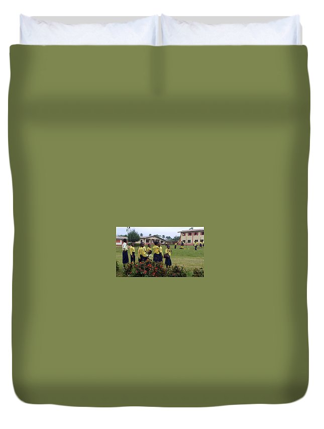 Nigeria Duvet Cover featuring the photograph Girls On Field Day by Amy Hosp