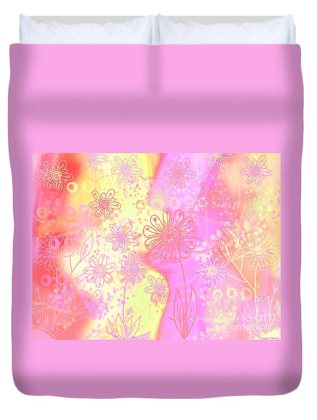 Abstract Duvet Cover featuring the photograph Girlz Only Abstract by Debbie Portwood