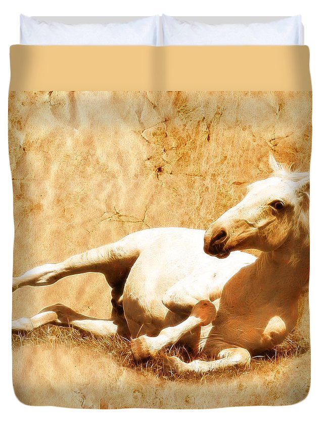Wild Horses Duvet Cover featuring the photograph Gitty Up by Steve McKinzie