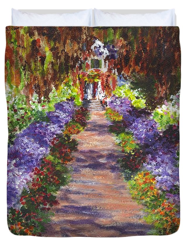 Floral Duvet Cover featuring the painting Giverny Gardens Pathway After Monet by Carol Wisniewski