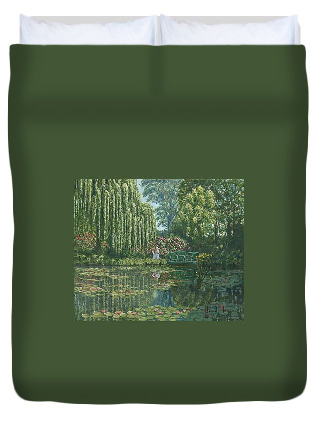 Landscape Duvet Cover featuring the painting Giverny Reflections by Richard Harpum