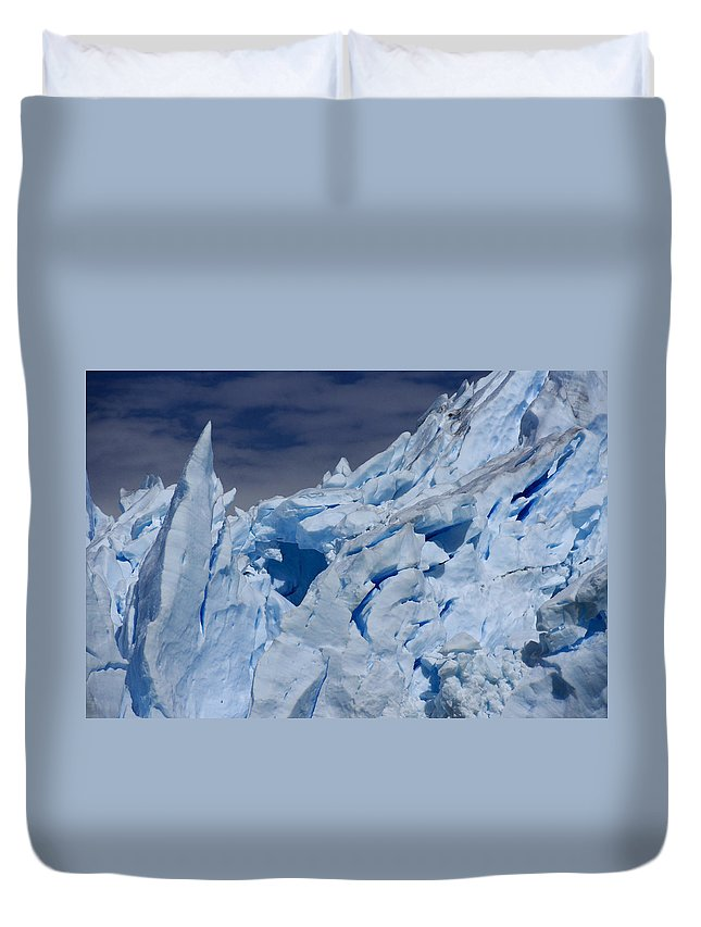 Argentina Duvet Cover featuring the photograph Glacial Blue by Michele Burgess