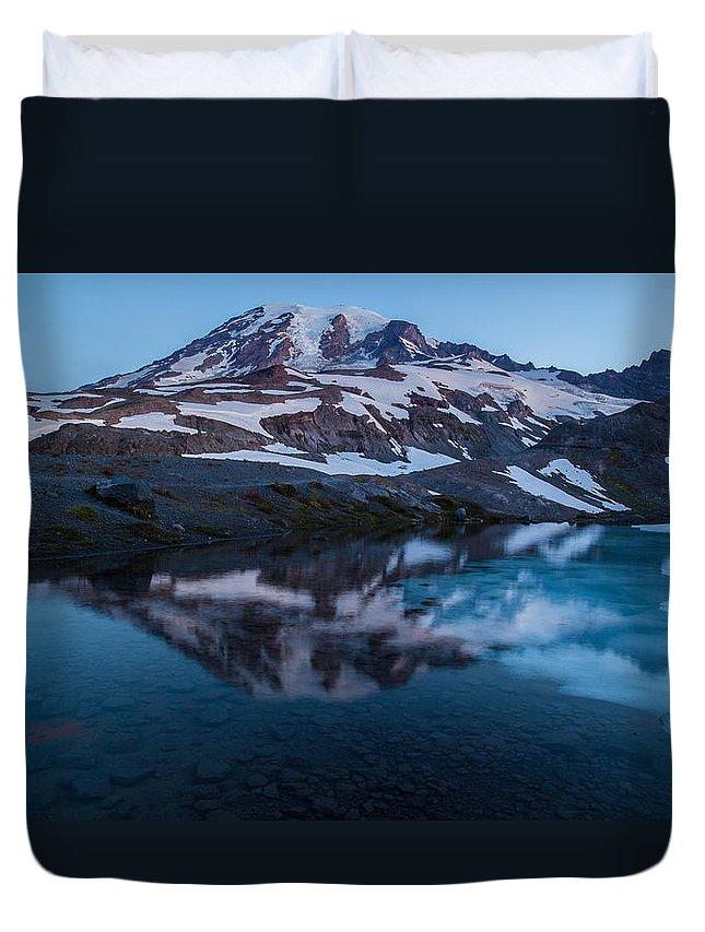 Rainier Duvet Cover featuring the photograph Glacial Rainier Morning Reflection by Mike Reid