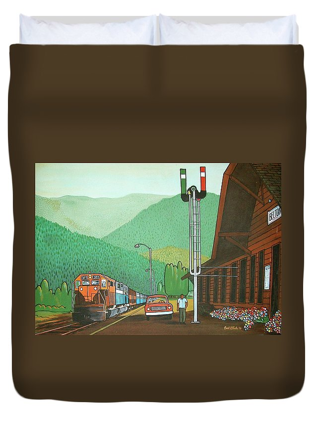 Great Northern Passenger Train Station Montana Glacier Park Duvet Cover featuring the painting Glacier Park Belton Montana by Frank Hunter