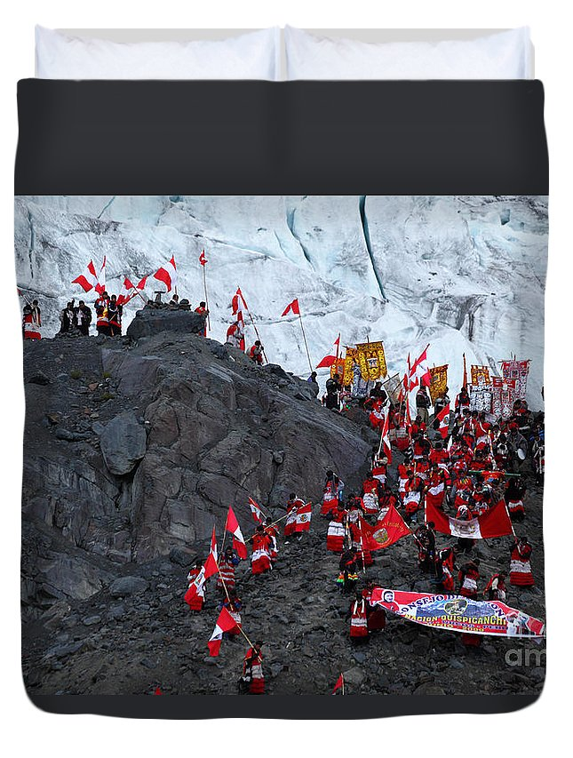 Peru Duvet Cover featuring the photograph Glacier Pilgrimage Quyllur Riti Festival by James Brunker