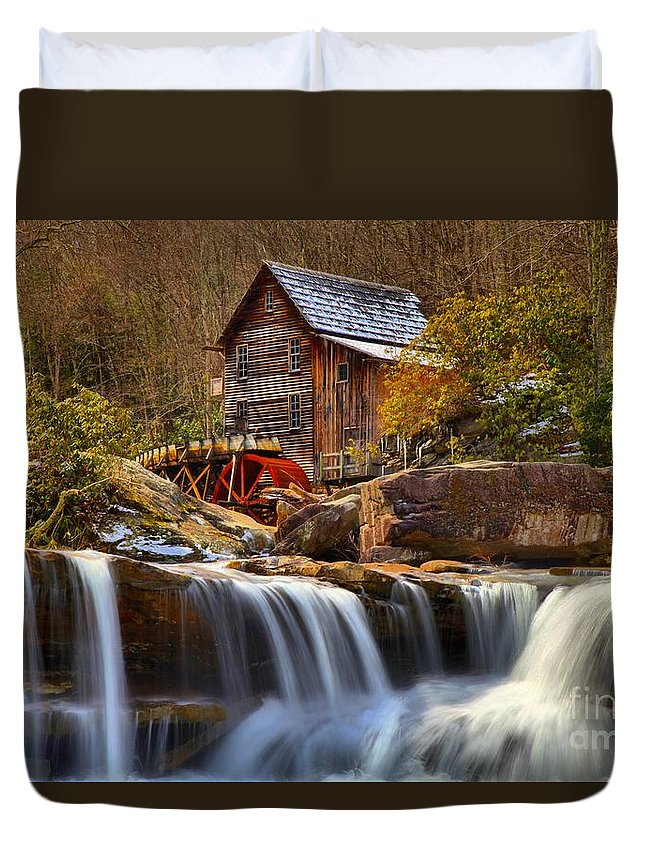 Glade Creek Duvet Cover featuring the photograph Glade Creek Cascades by Adam Jewell