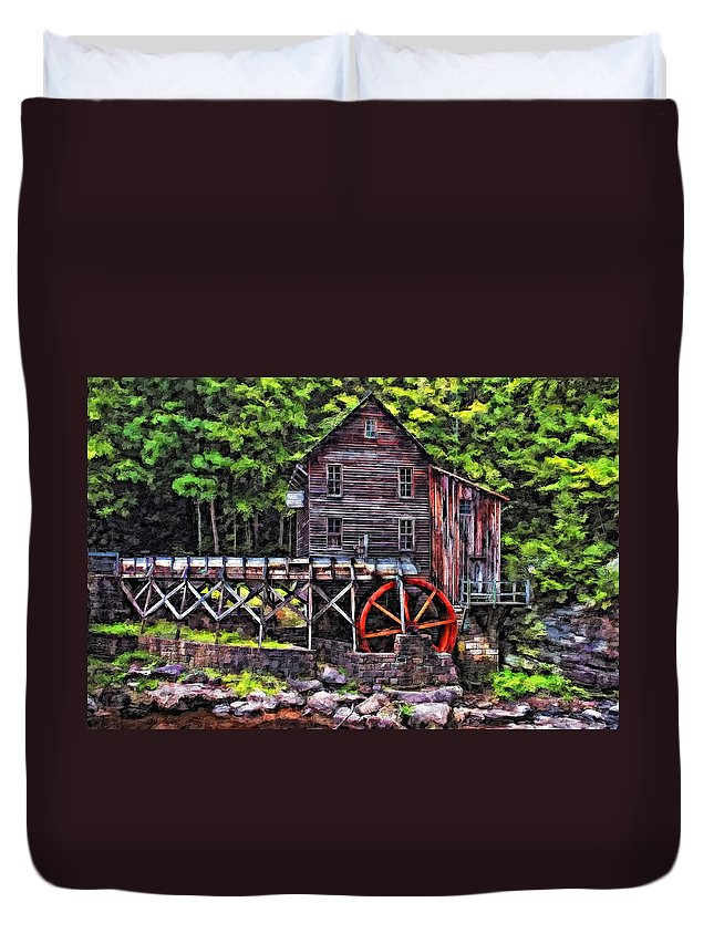 Mill Duvet Cover featuring the photograph Glade Creek Grist Mill Painter Version by Steve Harrington