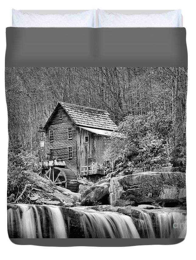 Glade Creek Duvet Cover featuring the photograph Glade Creek In Black And White by Adam Jewell