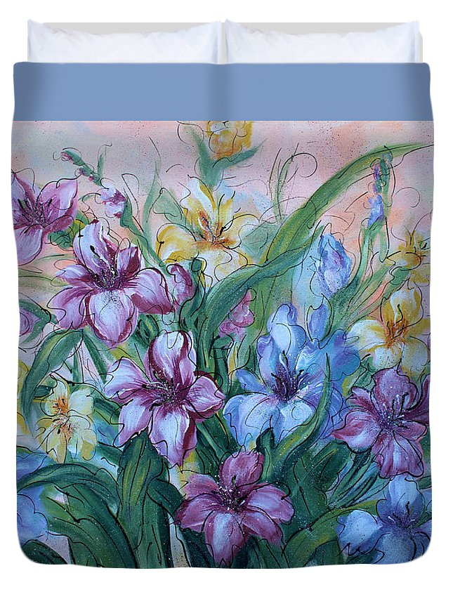 Gladiolus Duvet Cover featuring the painting Gladiolus by Natalie Holland