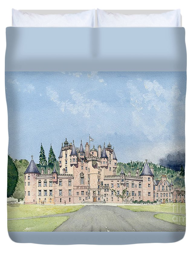 Landscape; Royal Residence Duvet Cover featuring the painting Glamis Castle Tayside by David Herbert