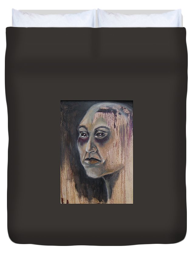 Alien Duvet Cover featuring the painting Glare by Nina Efk