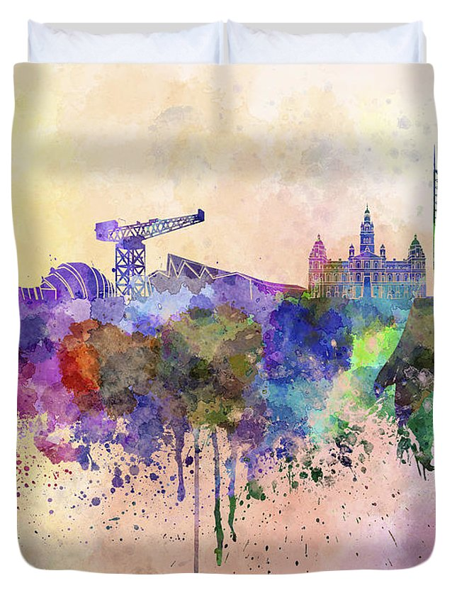 Glasgow Skyline Duvet Cover featuring the digital art Glasgow Skyline In Watercolor Background by Pablo Romero