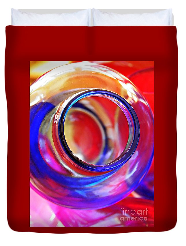 Bottle Duvet Cover featuring the photograph Glass Abstract 592 by Sarah Loft