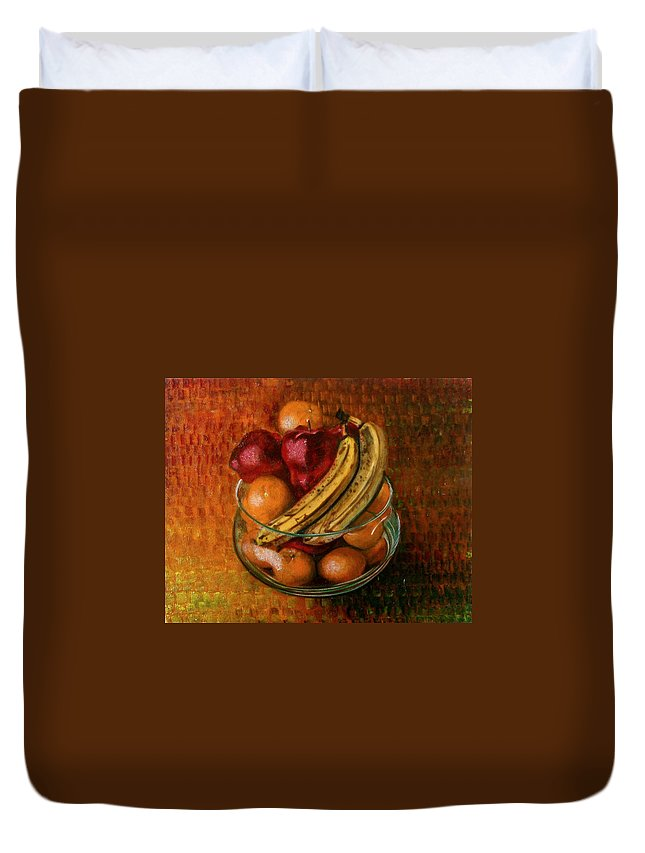 Still Life Duvet Cover featuring the painting Glass Bowl Of Fruit by Sean Connolly