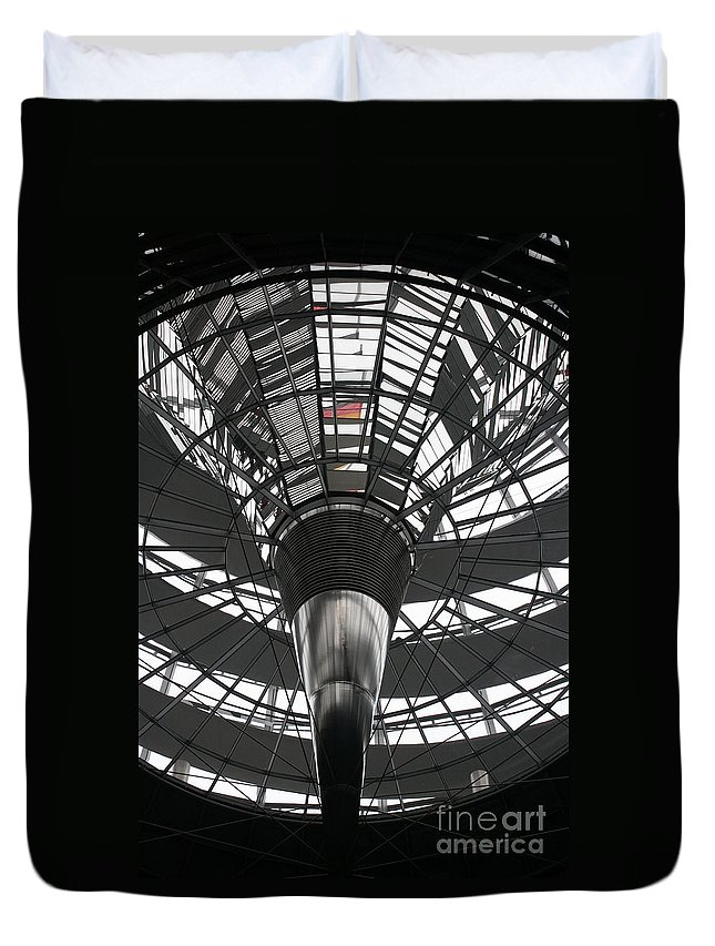 Glass Cupola Duvet Cover featuring the photograph Glass Cupola - Reichstagsbuilding Berlin by Christiane Schulze Art And Photography