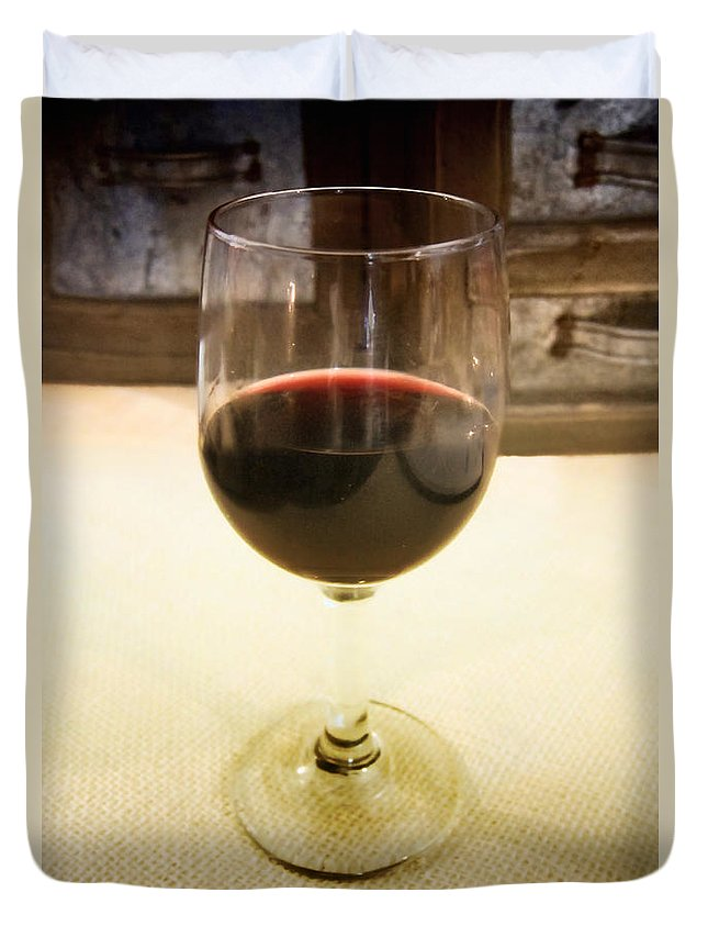 Alcohol; Liquid; Liquor; Wine; Glass; Red; Drink; Elegant; Crystal; Libation; Still Life; Vintage; Drawers; Bar; Restaurant; Stem; Stemware Duvet Cover featuring the photograph Glass Half Full by Margie Hurwich
