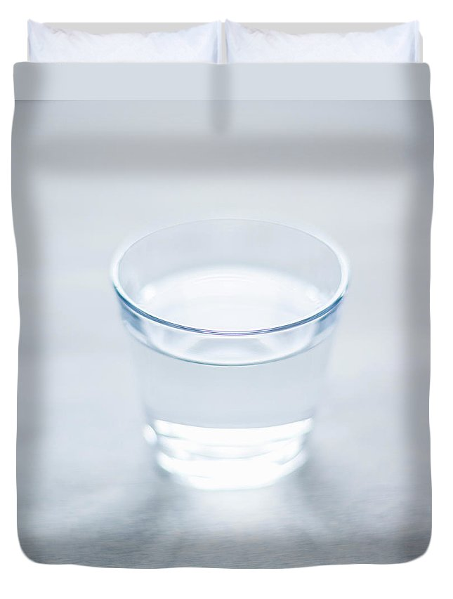 White Background Duvet Cover featuring the photograph Glass Of Water by Steven Errico
