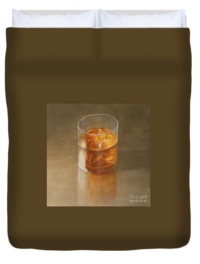 Alcohol; Glass; Drink; Booze; Beverage; Ice; Tumbler; Liquor; Whiskey; Bourbon; Alcoholic; Still Life; Spirit Duvet Cover featuring the painting Glass Of Whisky 2010 by Lincoln Seligman