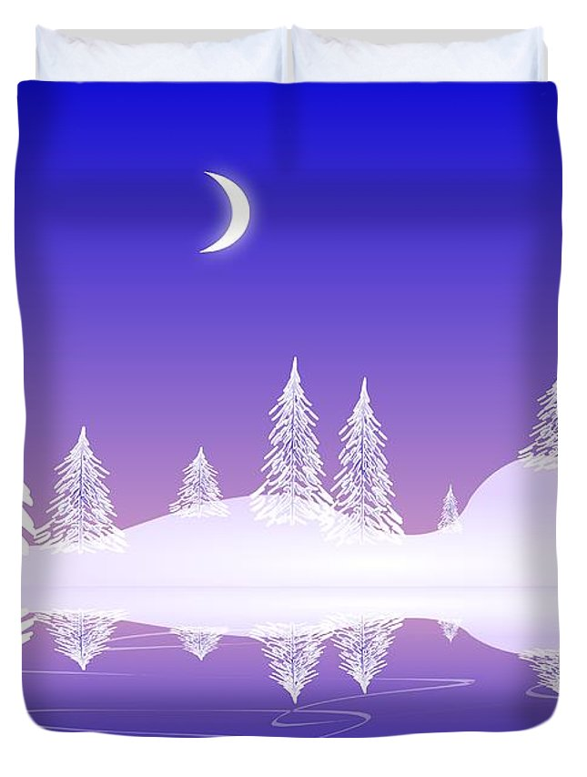 Cool Duvet Cover featuring the digital art Glass Winter by Anastasiya Malakhova