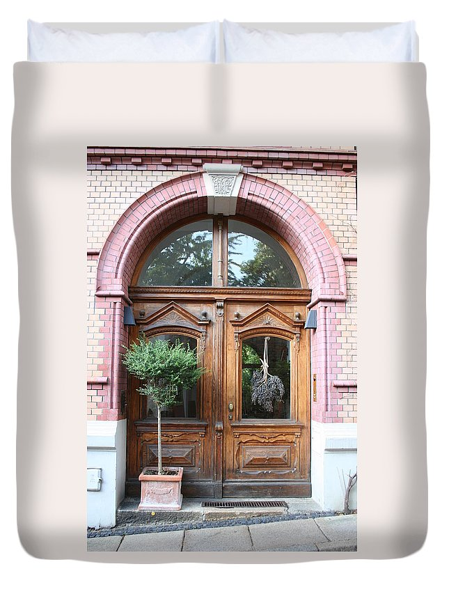 Door Duvet Cover featuring the photograph Glazed Door by Christiane Schulze Art And Photography