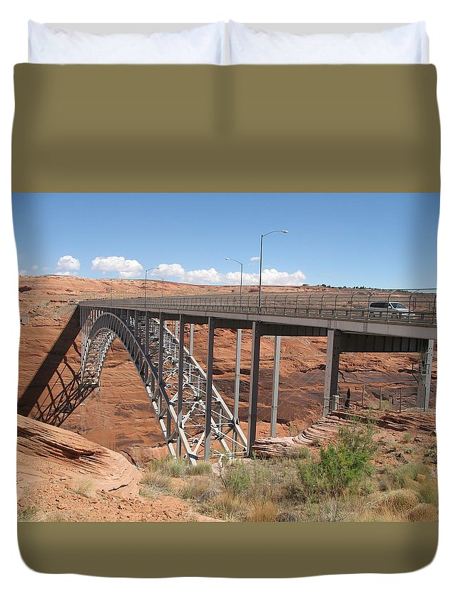 Steel Arch Bridge Duvet Cover featuring the photograph Glen Canyon Bridge by Christiane Schulze Art And Photography
