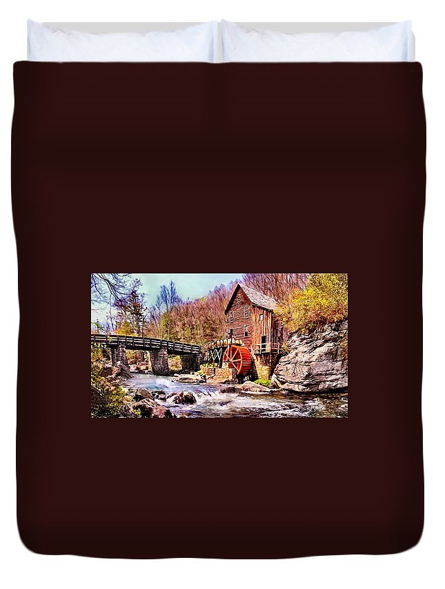 Bobby Duvet Cover featuring the painting Glen Creek Grist Mill Painting by Bob and Nadine Johnston