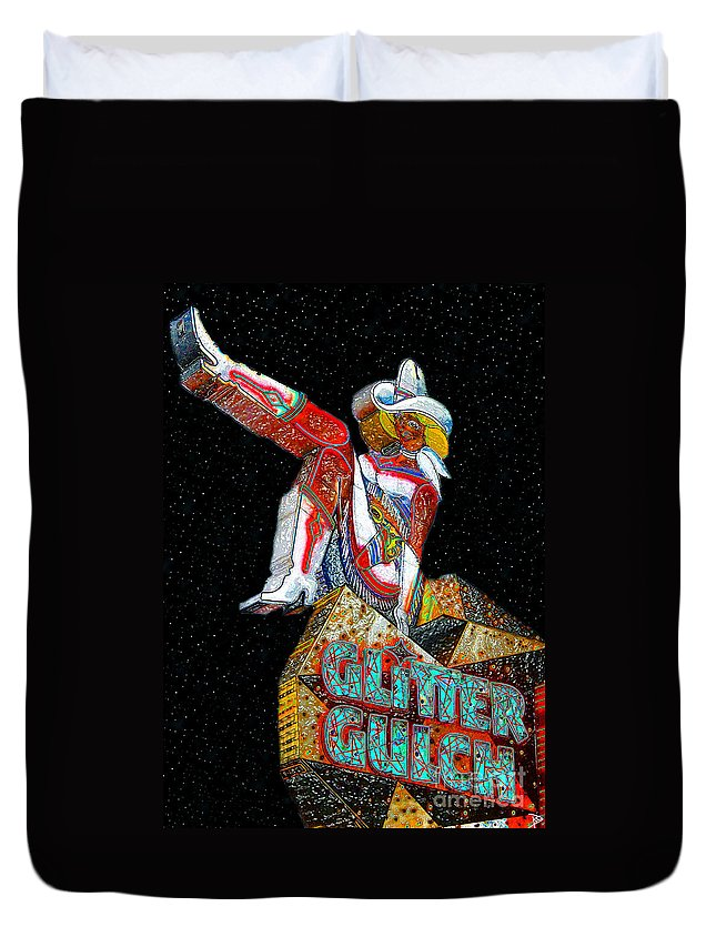 Art Duvet Cover featuring the painting Glitter Gulch Girl by David Lee Thompson