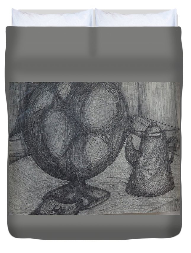 Coffee Pot Duvet Cover featuring the drawing Globe by Erika Chamberlin