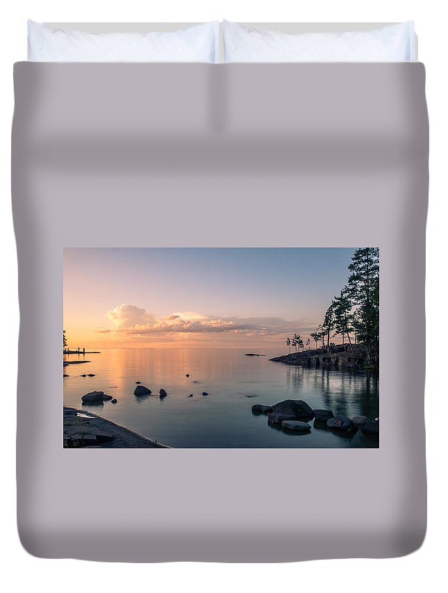 Nature Duvet Cover featuring the photograph Glorious End Of The Day. Valaam. Northern Russia by Jenny Rainbow