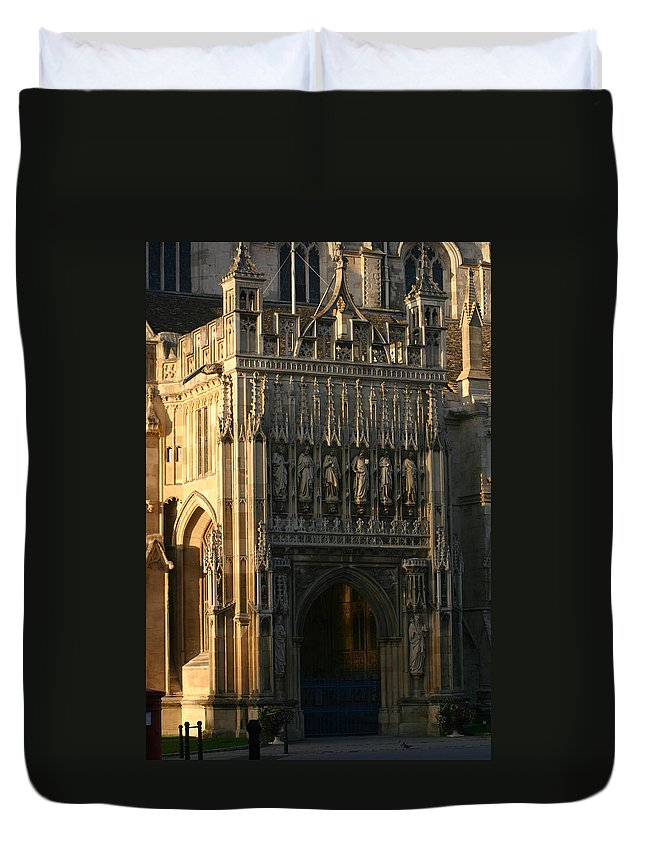 Gloucester Cathedral Entrance Autumn 2015 Statues Carving Ornate Medieval Duvet Cover featuring the photograph Gloucester Cathedral Entrance by Andy Lloyd