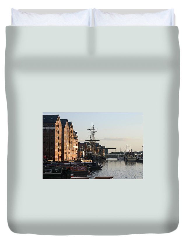 Gloucester Docks Tall Ships Barges Warehouses Duvet Cover featuring the painting Gloucester Docks 1 by Andy Lloyd