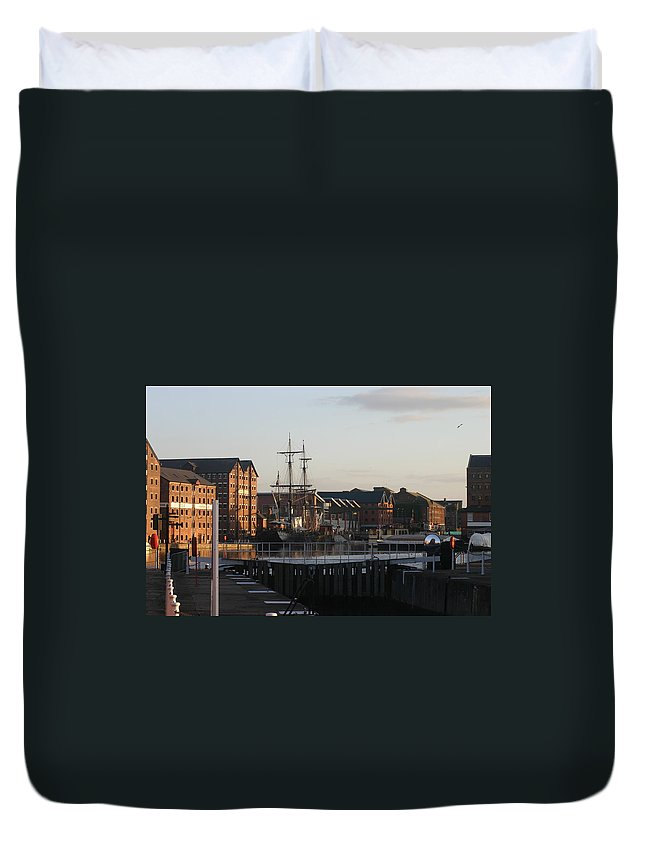 Gloucester Docks Tall Ships Barges Warehouses Duvet Cover featuring the photograph Gloucester Docks 3 by Andy Lloyd