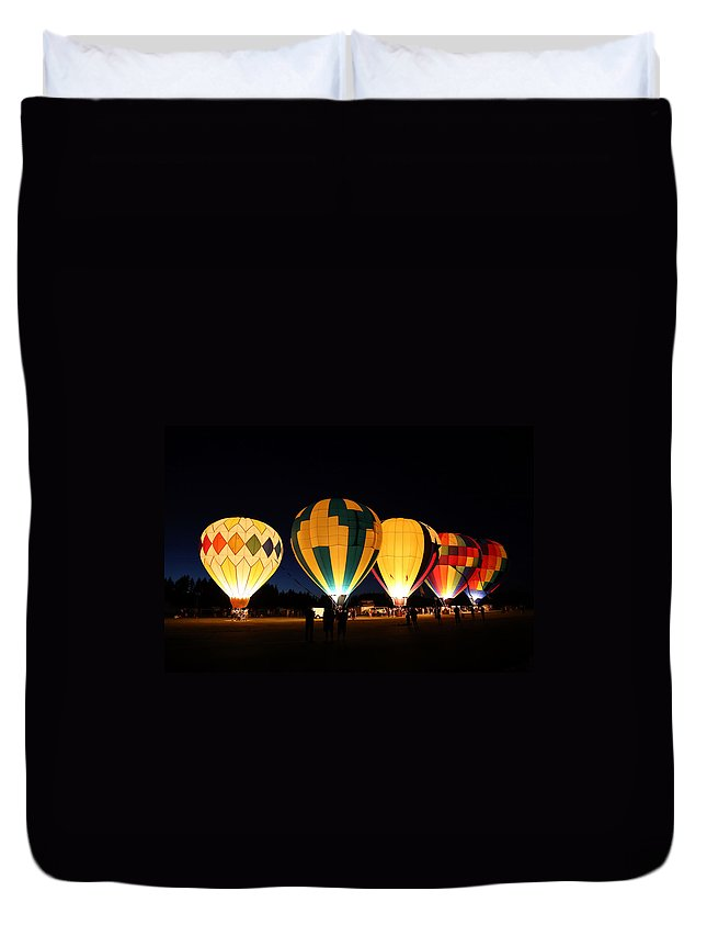 Air Duvet Cover featuring the photograph Glow At Night by Paul Fell