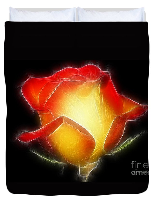 Flower Duvet Cover featuring the digital art Glow In The Dark by Teresa Zieba