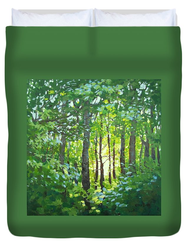 Landscape Duvet Cover featuring the painting Glow by Karen Ilari
