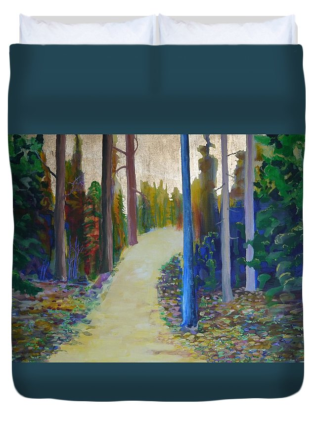 Landscape Duvet Cover featuring the painting Glow of Spring by Jarle Rosseland