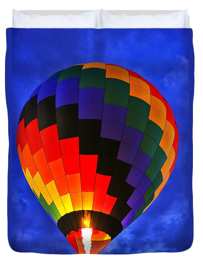 Balloon Duvet Cover featuring the photograph Glowing At Dusk by Karol Livote