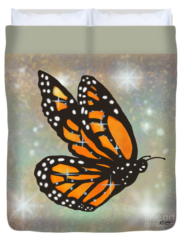 Butterfly Duvet Cover featuring the digital art Glowing Butterfly by Audra D Lemke