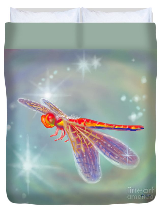 Dragonfly Duvet Cover featuring the digital art Glowing Dragonfly by Audra D Lemke
