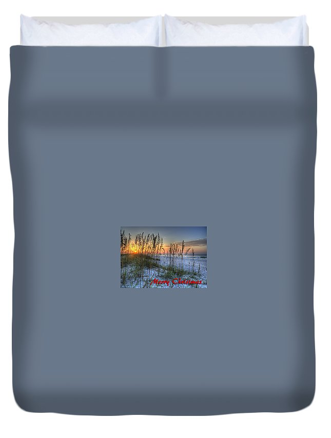 Christmas Duvet Cover featuring the digital art Glowing Sea Oats Sunrise by Michael Thomas