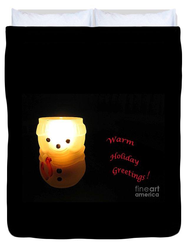 Snowman Duvet Cover featuring the photograph Glowing Snowman by Ann Horn