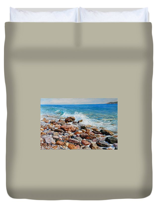 Seascape Duvet Cover featuring the painting Glyfada Greece by Sefedin Stafa